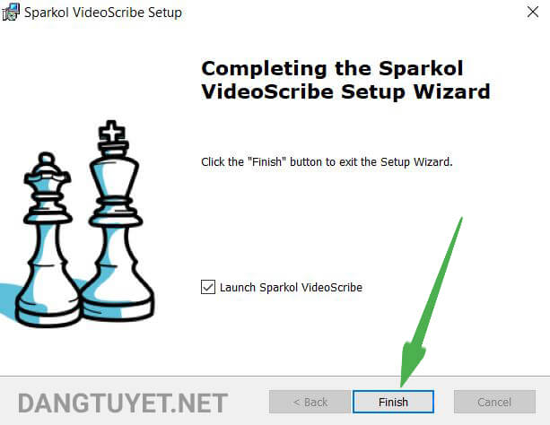 Cài đặt videoscribe hoàn thành